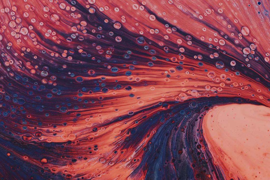 fluidos en naranja y azul oscuro para ilustrar el sistema endocannabinoide